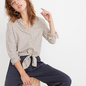 Madewell ~ Maitland Stripe Tie-Front Button Down